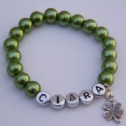 Four Leaf Clover Personalised Bracelet - Beaded Style